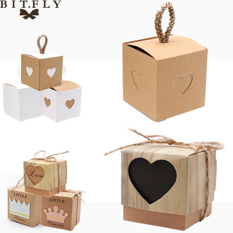 5 sztuk w kształcie serca Vintage Kraft Mini Kraft PAPIEROWE PUDEŁKO, Baby Shower DIY upominek weselny, małe pudełko do pakowania pojedynczych ciastek