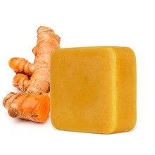 Natural scrub cleansing nourishing whitening acne treatment mites removal skin care dark black skin whitening turmeric soap