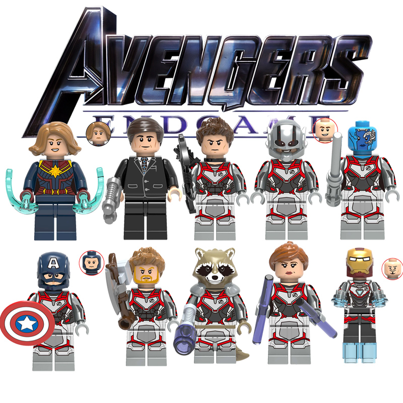 Newest Legoing Action Figure Captain Marvel Fury Minn-Erva Skrull Super Hero Iron Man Thor Avengers End Game Building Block Toys