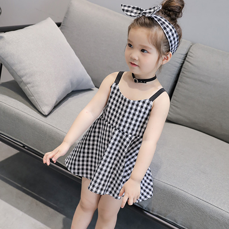 Casual Dress Ruffle Beautiful Plaid Toddler Baby-Girl Princess Party Kids White And Fits