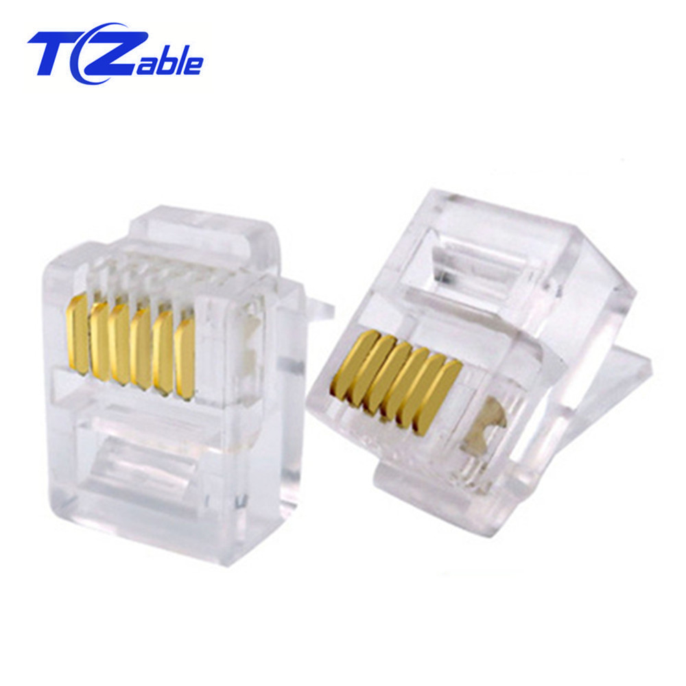 RJ11 RJ12 Cable Adapter 6P6C Socket Modular Crimp Network Telephone Transparent Connector Gold-plated Plug 50pcs/Lot