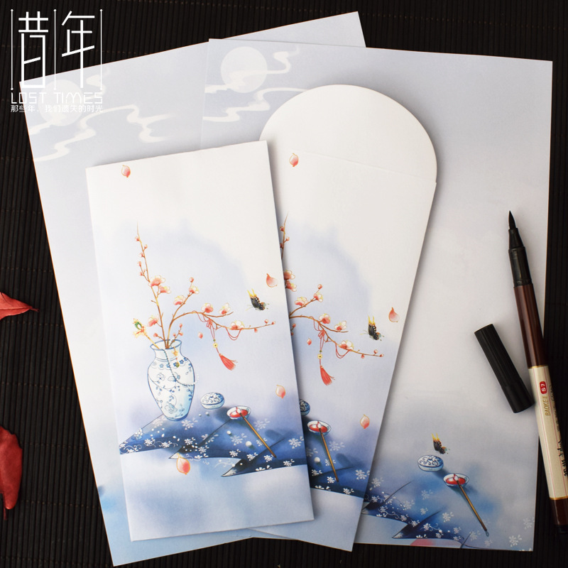 Year Creative Chinese Style Envelope Writing Paper Set Chinese-style Antique Style Blue And White Porcelain Letterhead Paper Col