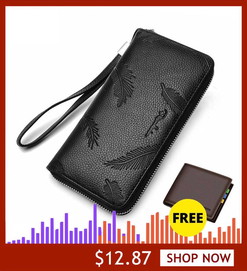 Bisonte DENIM de moda de piel de vaca cuero cartera larga cartera hombre cremallera embrague cartera de los hombres Anti-robo teléfono soporte largo moneda bolso N8174-1