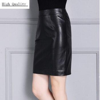 Classic Black Sheepskin Real Leather Skirts Lady Genuine Leather Skirts High Waist Office Slim Straight Women Luxury Work Skirt