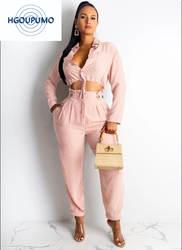 Розовые наряды на день рождения для женщин, отложной воротник, длинный рукав, пуговицы, кроп топы и ампир, карманы, брюки, костюм, комплект из