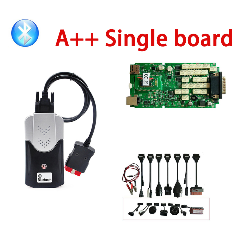 2020 Fast Free Shipping Quality A+ Diagnostic Tool Bluetooth With 2015.3 Keygen Green Single Board Obd Scanner+8pcs Car Cables