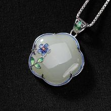Pendant Necklace Silver Jewelry Hetian Jade Chinese-Style Charm Natural Women's Enamel