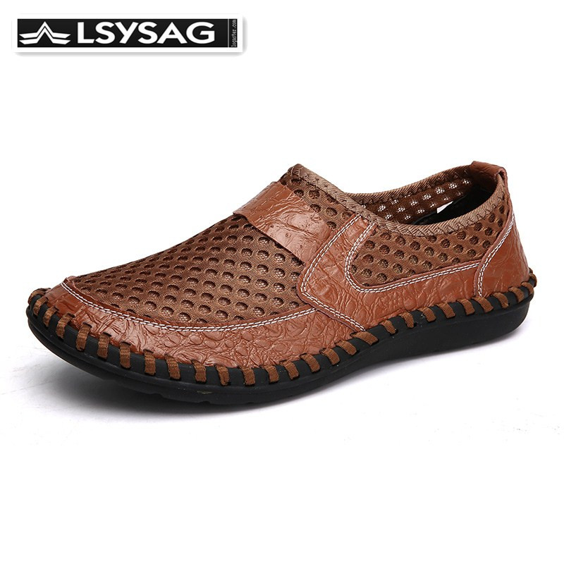 <font><b>Shoes</b></font> <font><b>Men</b></font> <font><b>Loafers</b></font> Genuine Leather Outdoor Walking <font><b>Shoes</b></font> Trekking Spring & Summer Breathable Net Footwear <font><b>Men</b></font> Sport <font><b>Shoes</b></font> image