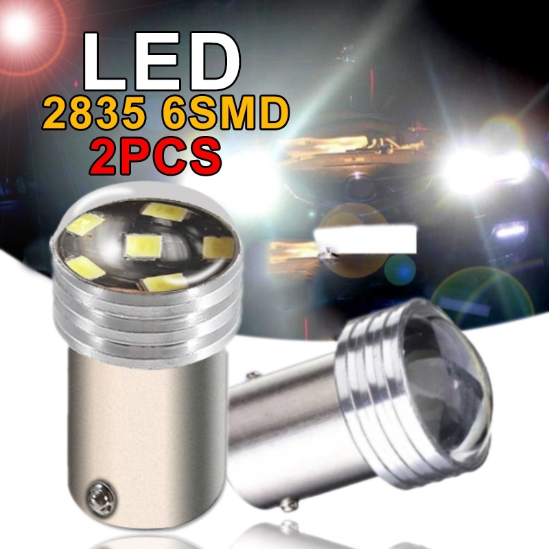 2pc 1156 R5W LED Projector Light Lamp Bulb White 2835 SMD 6 Led High Power Rear Turn Signal Backup Light Accessories Lampada Led