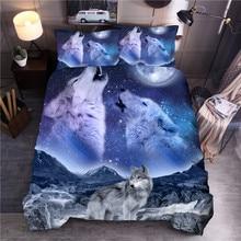 Conjuntos de roupas de cama estampadas lobo, conjuntos de capa de edredon animal de casal, queen, king, colcha e cama