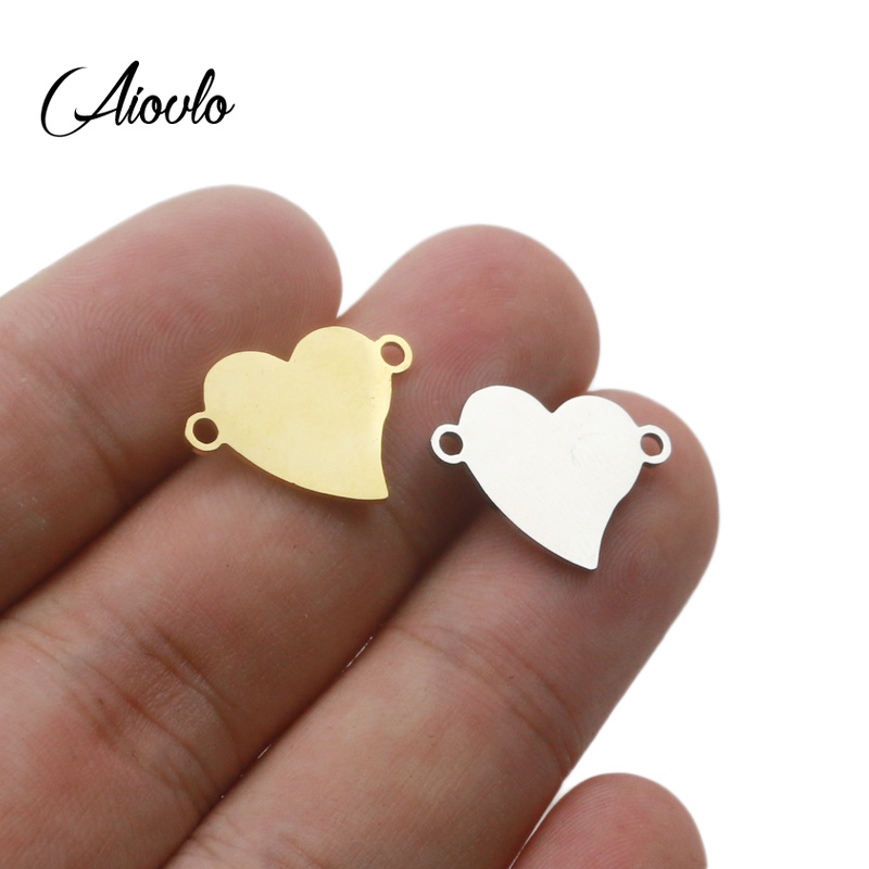 Aiovlo 5pcs/lot 15*18mm Stainless Steel Gold Distortion Heart Charm Connector For Bracelet Necklace Pendants Diy Jewelry Making