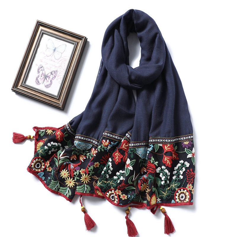 Lace Embroidery Cotton Scarf Women Vintage Floral Print Shawls And Wraps Tassels Pashmina Lady Foulard Hijab Muslim Sjaal