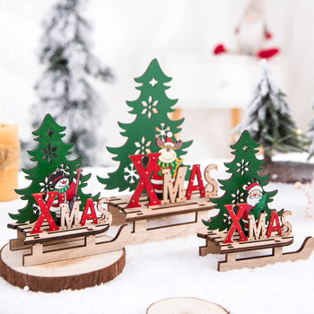 1PC Christmas Tree Shape Wooden Pendants DIY Santa Claus/Snowman Xmas Tree Deer Ornaments Christmas Party Decoration Kids Gift image