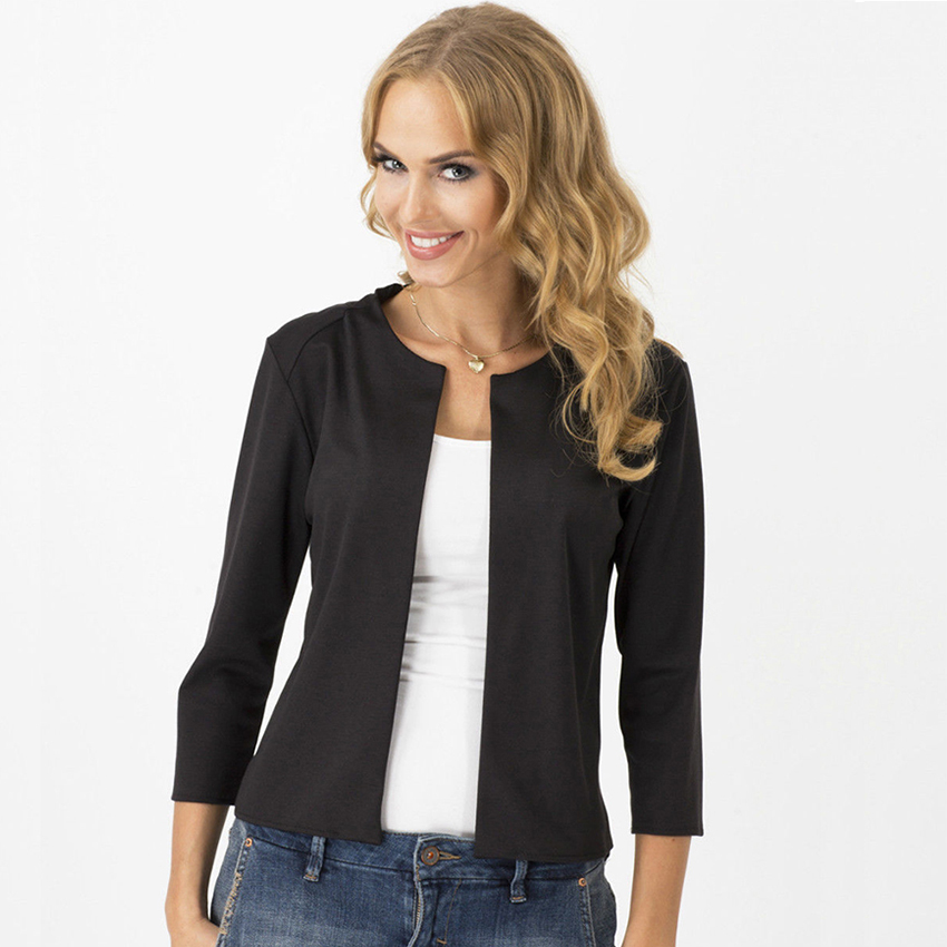 Solid Cardigan Blazers Women Fashion No Breasted No Collar Casual Suits Female Elasticity Soft Women Blazers Elegant Office Lady-in Blazers from Women's Clothing