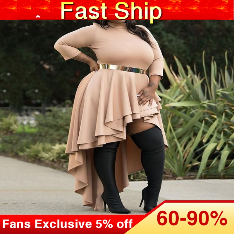Plus Size Dresses For Women 4xl 5xl 6xl Ladies Autumn Fall Turtleneck Asymmetric Falbala High Low Long Party Dresses Ruffles