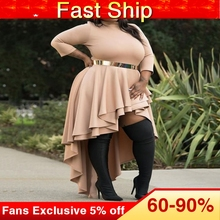 Plus Size Dresses for Women 4xl 5xl 6xl Ladies Autumn Fall Turtleneck Asymmetric Falbala High Low Long Party Dresses Ruffles