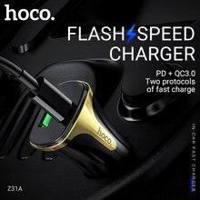 Hoco schnelle auto ladegerät USB Typ C für PD QC3.0 FCP AFC schnelle lade für iphone xiaomi samsung android telefon ladegerät 3.4A 18W