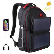 HAWEEL 14W Foldable Solar Power Outdoor Portable Canvas Dual Shoulders Laptop Backpack, USB Output: 5V 2.1A Max(
