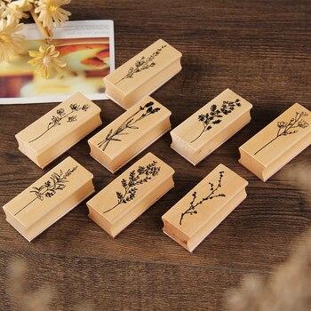 Vintage Plant Tree Wooden Rubber Stamps Set Diy Rubber Stamp For Card Making Scrapbooking