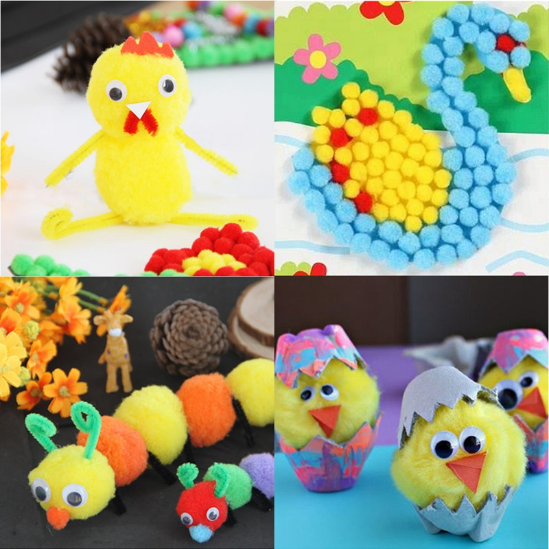 500Pcs Assorted Colors Pom Poms Arts and Crafts Pom Pom Balls for Hobby Supplies and DIY Creative Crafts Decorations