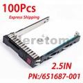 100 шт., 2,5 дюйма, кронштейн для жесткого диска SAS SATA 651687-001 для HP G8 Gen8 Gen9 G9 DL380 DL360 DL160 DL385, серверный лоток с чипом