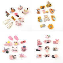 10Pcs/Set Cartoon Pricness Baby Girl Hair Clips Pin For Girls Crown Barrette Elephant Duckbill Accessories