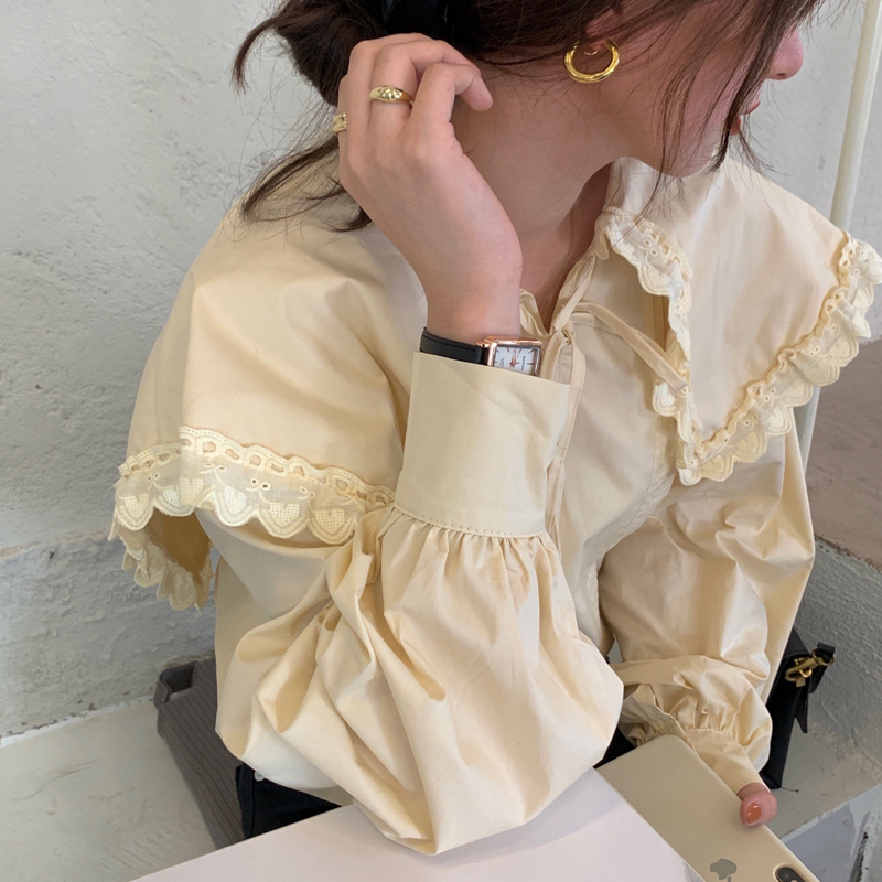 Hf20d432d1b824fe8886ea57e0f37a8beE - Spring / Autumn Lace-Up Collar Long Sleeves Loose pleated Solid Blouse