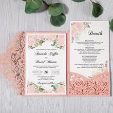 100pcs ורוד לייזר לחתוך פרחוני כרטיסי הזמנה לחתונה/מסיבה/Quinceanera/יום נישואים/יום הולדת, CW0008