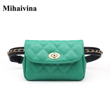 Mihaivina New Style Fashion Bum Bag Fanny Pack For Women Leather Belt Bags Female Plaid Chain Waist Pack Shoulder Pocket Hip Bag tanie tanio 18cm YC9221 Waist Packs Solid 100cm 18*12*4cm 280g white fanny pack luxury fanny pack fanny packs fanny pack for women women fanny pack designer fanny pack