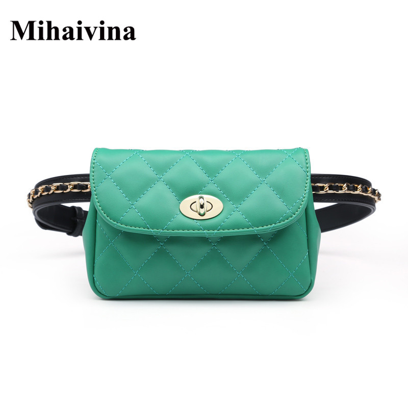 Mihaivina New Style Fashion Bum Bag Fanny Pack For Women Leather Belt Bags Female Plaid Chain Waist Pack Shoulder Pocket Hip Bag