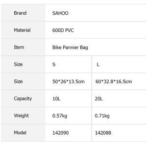 Image 2 - 2 stücke Sahoo 10L/20L Mountain Road Bike Wasserdichte Fahrrad Pannier Tasche Radfahren Zurück Rear Seat Trunk Bag Rack pack Schulter Tasche