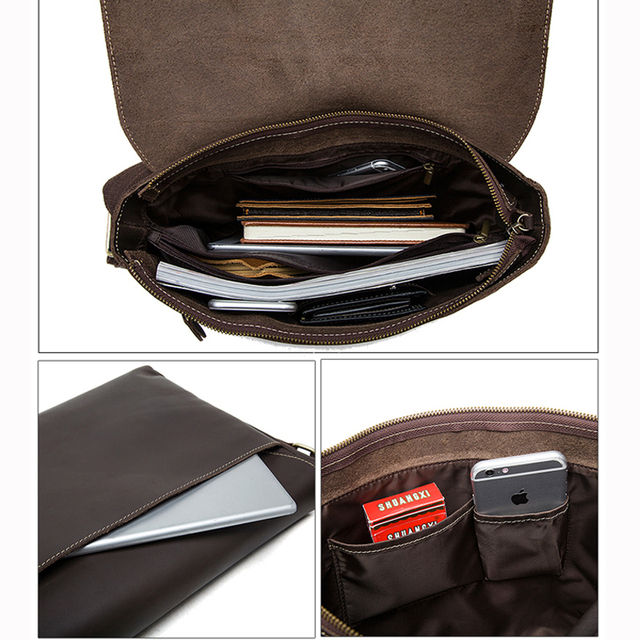 WESTAL hommes porte-documents ordinateur portable sac en cuir avocat/sacs de bureau sacs de messager hommes Crazy Horse cuir porte-documents sac daffaires