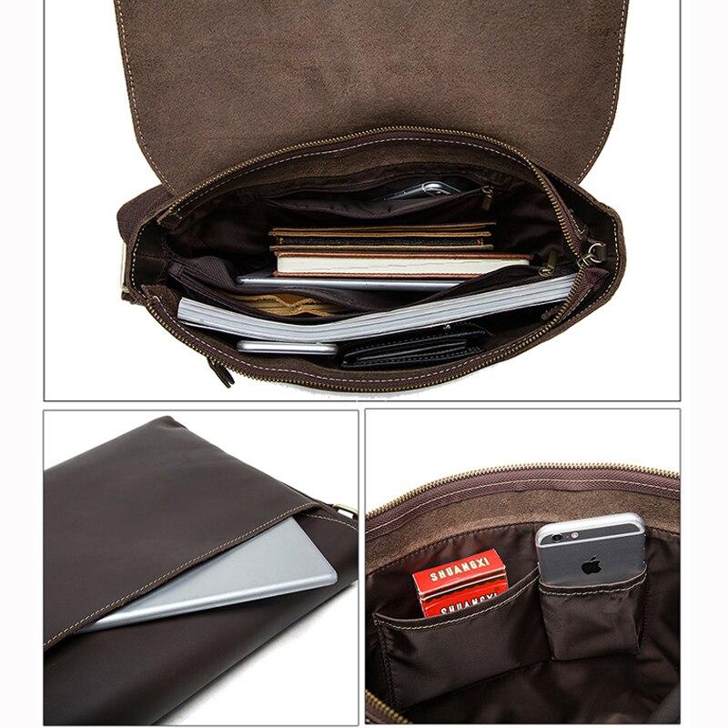 WESTAL maletines para hombres, bolso para ordenador portátil, bolsos de oficina, bolsas de mensajero para hombres, maletines de cuero Crazy Horse, bolso de negocios - 5
