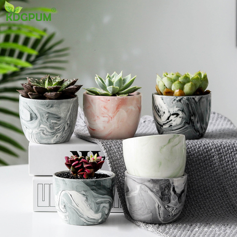 Simple Home Ceramic Flower Pot Multicolor Marble Pattern Fleshy Flower Pot Home Bird Spikes Gardening Christmas Decorations