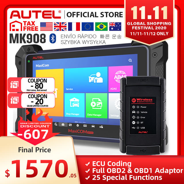 Autel MaxiCOM MK908 (MS908, Version améliorée), outil de Diagnostic automobile, Scanner OBD2, codage decu (même fonction que MS908)