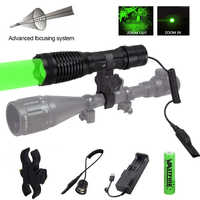 Green/Red/White LED Light Hunting Flashlight Zoomable Camping Hiking Hunting Torch +Scope Mount+USB Charger+Remote Switch