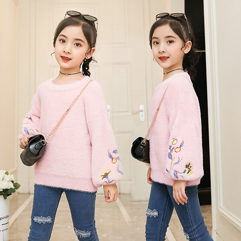 Girls Faux Mink Cashmere Sweater New Style Sweater Children Korean-style Thick Kids' Sweater 2019 Coat A Generation Of Fat