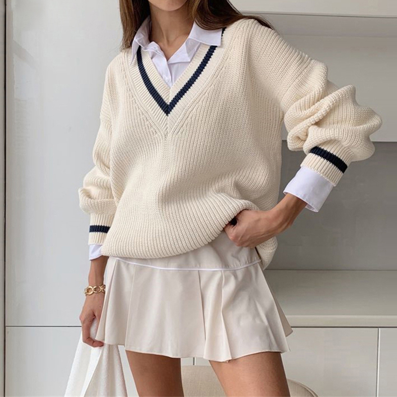 HEYounGIRL  V Neck White Casual Sweater Women Preppy Style Korean Long Sleeve Jumpers Ladies High Street Autumn Winter Pullover