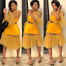 African womens mesh three-piece suit new fashion sexy tube top stitching wild color dress elegant summer
