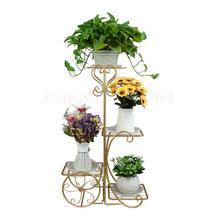 Золотой светильник роскошный Цветочный Стенд из кованого железа многослойная металлическая полка для цветов цветочный горшок подставка для гостиной пол зеленый укроп дом