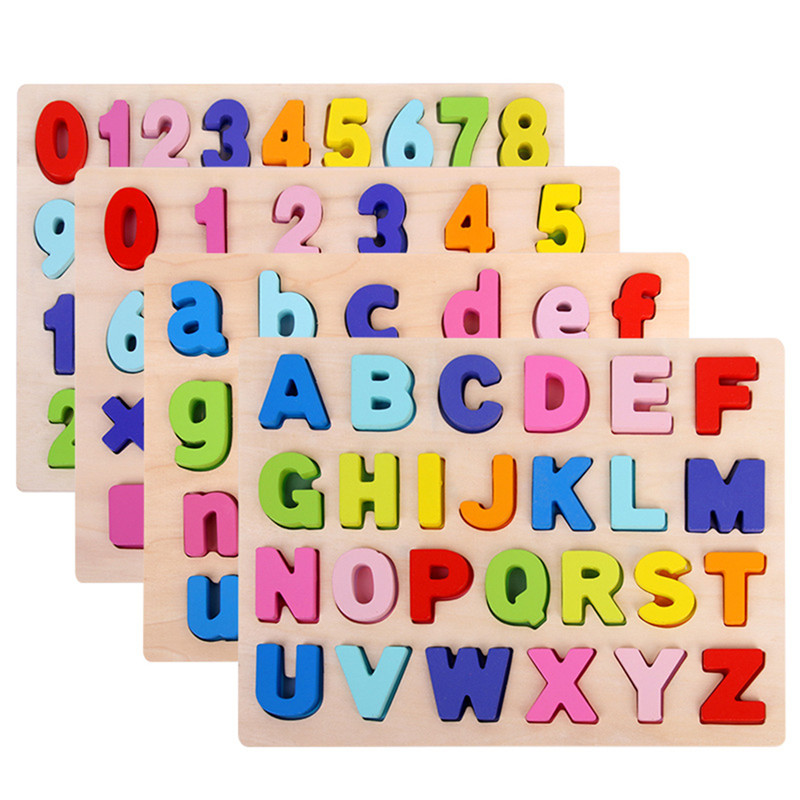 Jigsaw Letter Alphabet Number Puzzle Preschool Educational Baby Toys For Children ABC Puzzle Digital Wooden Toys Early Learning