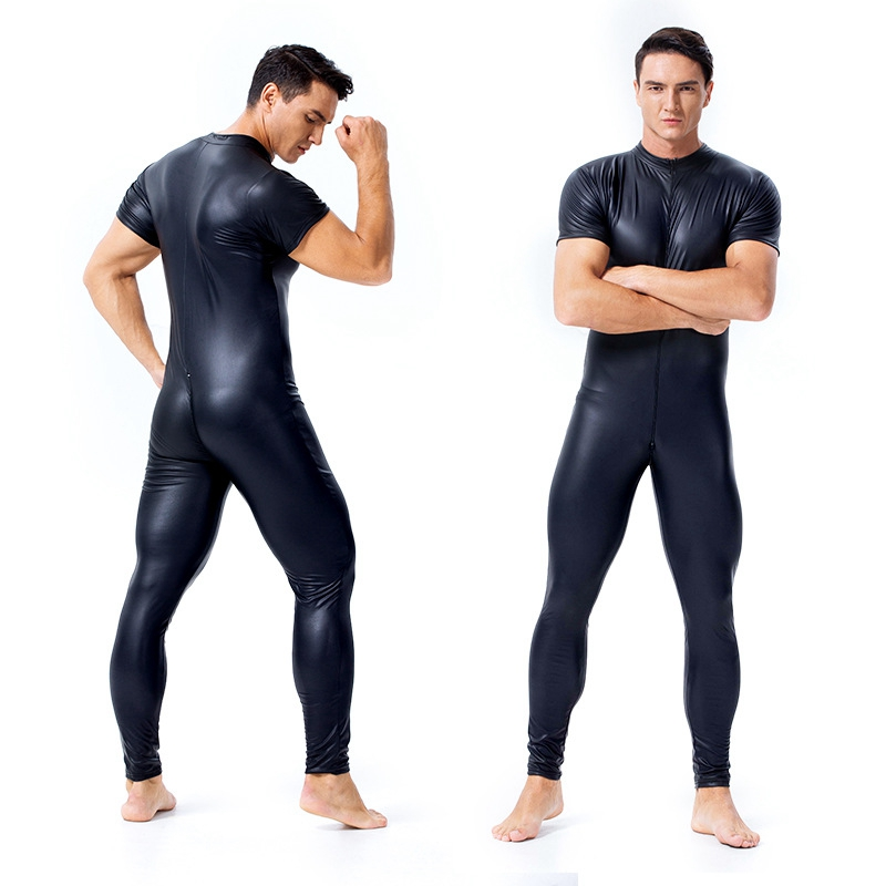 Men Wetlook Faux Leather Double Zipper Open Crotch Pvc Lingerie Bodysuit Gay Hot Lingerie Latex Catsuit Fetish Wear Sexy Costume
