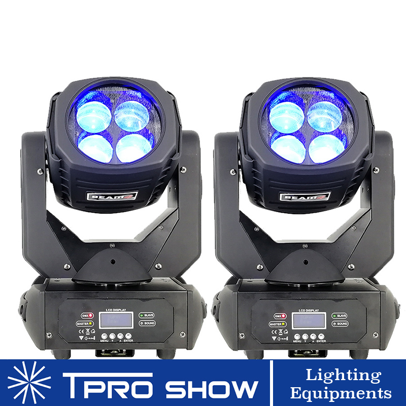 2Pcs LED Moving Head 4x25W Lyre Beam Stage Lighting Effect Dmx 100W Super Beam Moving Light Head For Club Disco Christmas Party