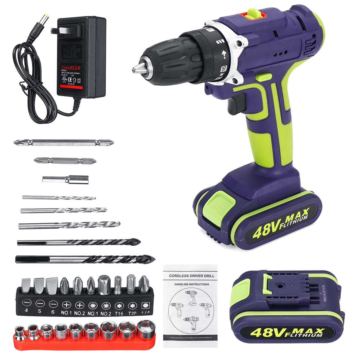 Professional 48Vf Cordless Drill Daul-Speed Adjustment LED Lighting Large Capacity Battery 50Nm 16+1 Torque 28pcs Accessories