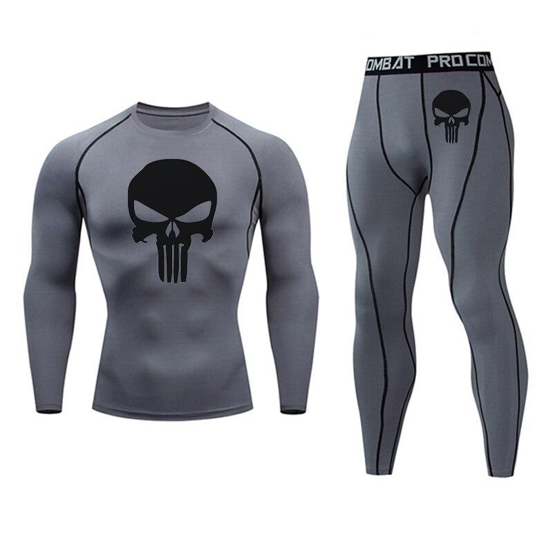 New Suit Men's Clothing Skull 3D Pattern Compression MMA Rashgard Male Tactical Leggings Fitness T-shirt Men's Sportswear Base