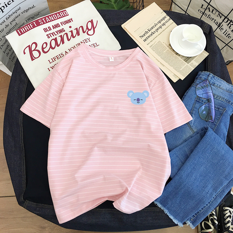Cotton Striped Summer T-shirt New Short-sleeved Shirt Young Students Cute Round Neck Women's Fashion T T-shirt Tops