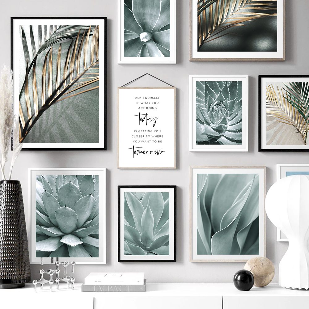 Пальмовые Листья, искусство растений, холст, живопись, алоэ, ботанические постеры и принты модульное Настенное панно для гостиной, украшени...