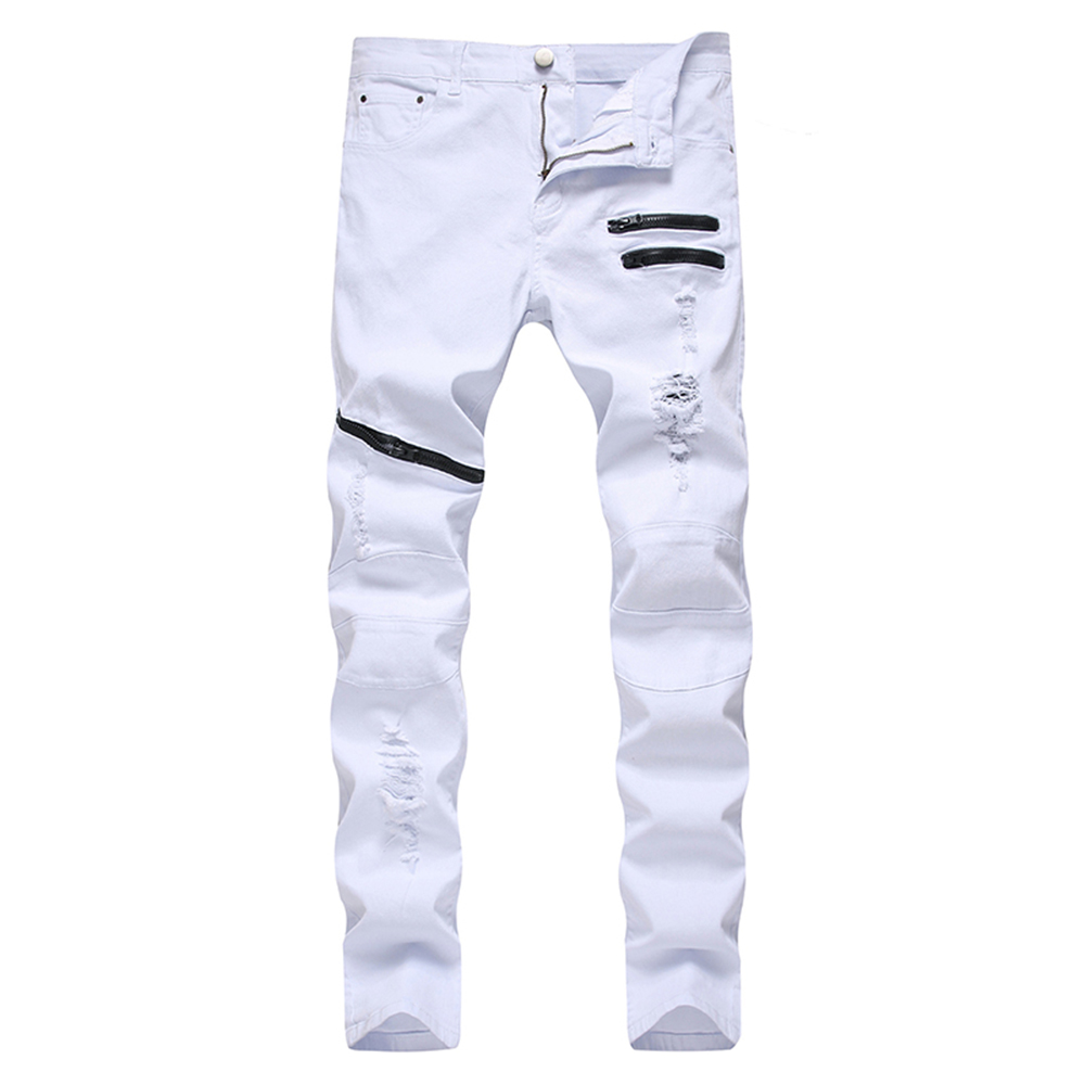 Men's Jeans Zipper Holes Ripped Stretch Denim Pants Slim Straight Trousers White Black Red