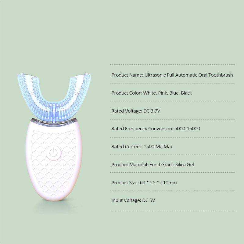 U Shape Electric Toothbrush 360 Degree Automatic Sonic Silicone Ultrasonic Electronic Tooth Brush USB Rechargeable Teeth Cleaner