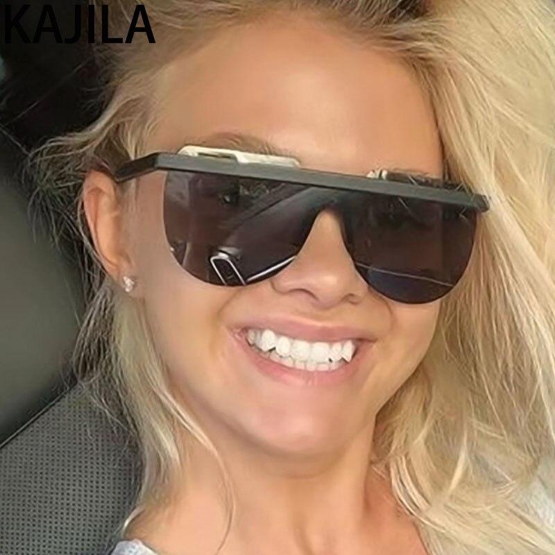 Oversized Sunglasses Women Large Frame Retro One Piece Semi Rimless Sun Glasses For Woman Shades Brand Designer Eyewear okulary Women